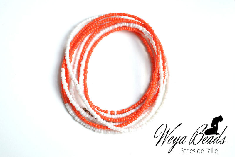 Baya Ilasha - Orange Douce perle de taille ou de cheville